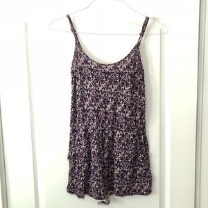 Forever 21 purple and cream patterned romper